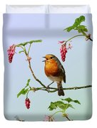 Robin Singing On Flowering Currant Duvet Cover