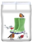 Robins And Green Wellies Duvet Cover