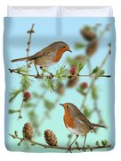 Robins On Larch Duvet Cover