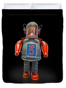 Robo Space Toys Knockout On Black Duvet Cover