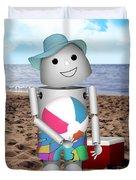 Robo-x9 At The Beach Duvet Cover