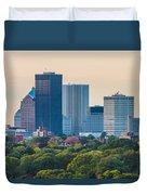 Rochester Ny Skyline At Dusk Duvet Cover