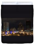 Rochester Skyline From Freddie-sue Bridge Duvet Cover