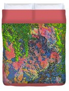 Rock And Shrub Abstract Bright Duvet Cover