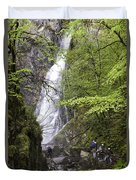 Rock Climbers At Graymare's Tail Falls Duvet Cover
