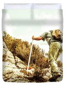 Rock Climbing Mountaineer Duvet Cover