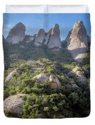 Rock Formations Montserrat Spain Duvet Cover