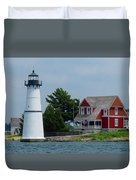 Rock Island Lighthouse July Duvet Cover