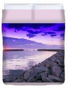 Rock Jetty Sunrise Duvet Cover
