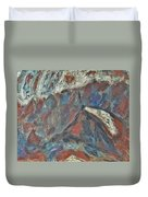 Rock Landscape Abstract  Fall Waves And Forests Swirling In The Background In Red Blue Orang Duvet Cover