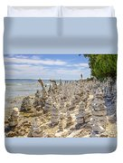 Rock Structures On Lake Michigan Duvet Cover