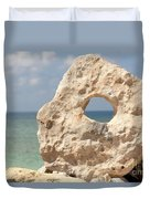 Rock With A Hole With A Tropical Ocean In The Background. Duvet Cover
