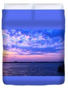 Rockaway Point Dock Sunset Violet Orange Duvet Cover