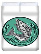 Rockfish Jumping Color Oval Drawing Duvet Cover