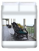 Rocking Chairs On The Porch Duvet Cover