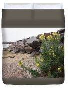 Rocks And Flowers Duvet Cover