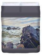 Rocks At Widemouth Bay, Cornwall Duvet Cover