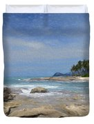 Rocks Trees And Ocean Duvet Cover