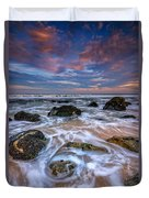 Rocky Beach At Sandy Hook Duvet Cover