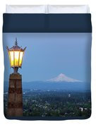 Rocky Butte Viewpoint With Mount Hood During Evening Blue Hour Duvet Cover