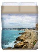 Rocky Coastline In Nice, France Duvet Cover