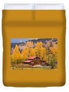 Rocky Mountain Autumn Ranch Landscape Duvet Cover