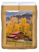 Rocky Mountain Barn Autumn View Duvet Cover