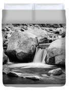 Rocky Mountain Canyon Waterfall In Black And White Duvet Cover