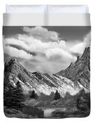 Rocky Mountain Tranquil Escape In Black And White Duvet Cover
