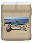 Rocky Seaside Bench Duvet Cover
