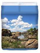 Rocky Shore And Pristine Water Duvet Cover