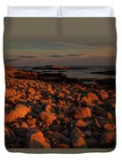 Rocky Shoreline And Islands At Sunset Duvet Cover