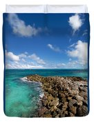 Rocky Shoreline On The Beach At Atlantis Resort Duvet Cover