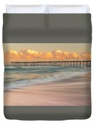 Rodanthe Fishing Pier Sunset On The Outer Banks In Carolina Panorama Duvet Cover