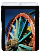 Rode Hard And Put Up - Wagon Wheel Rustic Country Rural Antique Duvet Cover