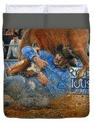 Rodeo Houston --steer Wrestling Duvet Cover