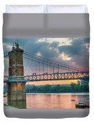 Roebling Suspension Bridge - Cincinnati, Ohio Duvet Cover