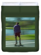 Rollerbladers In Forest Park Duvet Cover