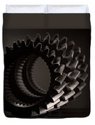 Rollin' Gears Black And White Duvet Cover