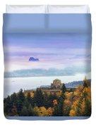 Rolling Fog At Columbia River Gorge In Fall Duvet Cover