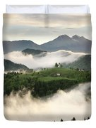 Rolling Fog At Sunrise With Mountains Of Kamnik Savinja Alps At  Duvet Cover