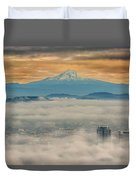 Rolling Low Fog Over City Of Portland Duvet Cover