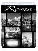 Roma Black And White Poster Duvet Cover