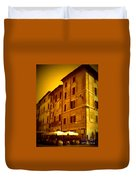 Roman Cafe With Golden Sepia 2 Duvet Cover