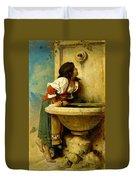 Roman Girl At A Fountain Duvet Cover