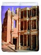 Roman Ruins At Sabrayha Duvet Cover