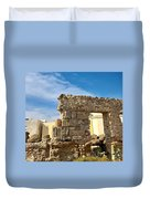 Roman Wall In Cadiz Spain Duvet Cover