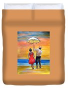 Romance On The Beach Duvet Cover