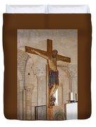 Romanesque Abbey Crucifix Duvet Cover