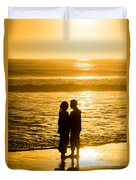 Romantic Beach Silhouette Duvet Cover